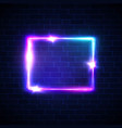 neon sign square frame on dark brick texture wall vector image