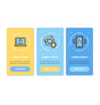 oneboarding app screens cards data security set vector image vector image
