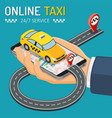 online taxi isometric concept vector image vector image