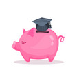 pink piggy bank and graduation saving and vector image