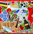 portugal seamless pattern with stickers vector image vector image