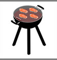 salmon steaks on barbecue grill vector image vector image