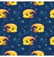 Seamless pattern with cute cartoon yellow fish vector image vector image