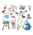 set doodle school stationery on white background vector image vector image