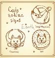 Sketch cats zodiac signs in vintage style vector image vector image