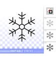 snowflake simple black line icon vector image vector image