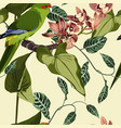 tropical floral print parrot bird in jungle vector image vector image