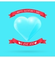 Valentines day background with glass heart vector image vector image