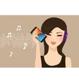woman girl female listening to music streaming vector image vector image