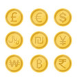 world currency symbol and coins set vector image