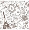 Paris winterDoodle christmas seamless pattern vector image