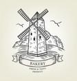 sketch of windmill landscape vector image