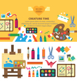 Creative set for artist vector image