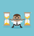 african businessman raises a bar with an hourglass vector image