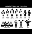 basketball players team stick figure pictograph vector image vector image