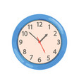 blue round wall clock on a vector image