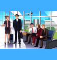 business people waiting in the airport vector image vector image