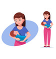 cartoon breastfeeding mother vector image vector image