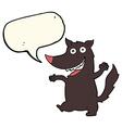 cartoon happy wolf with speech bubble vector image vector image