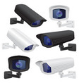 cctv camera set white and black security vector image vector image