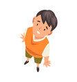 cheerful boy character looking up view from above vector image vector image