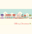 christmas card with cute cottages in victorian vector image