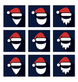christmas flat icon set santa vector image vector image