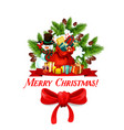 christmas gift in santa bag with red bow icon vector image
