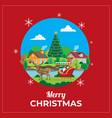 christmas greetings card with santa reindeer vector image