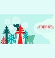 christmas web template retro folk animal forest vector image