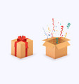 closed and opened gift boxes presents isolated on vector image vector image