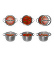 collection of metal pots with soup and glass lids vector image vector image