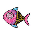 color pencil drawing of fish with big eye vector image vector image