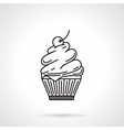 Cream dessert black line icon vector image