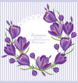 crocus ultra violet flowers wreath spring vector image