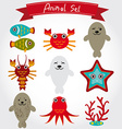 cute sea animal set including fur seals vector image