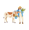 female farmer character standing near cow woman vector image vector image