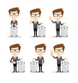full length portrait of a young businessman with a vector image