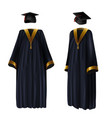 graduation clothing gown and cap vector image vector image