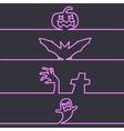 Halloween symbols in neon light dark background vector image vector image
