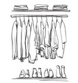 hand drawn wardrobe sketch clothes and shoes vector image vector image