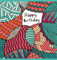 happy birthday card hand drawing colorful vector image vector image