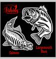 largemouth bass and salmon fishing on usa vector image vector image
