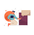 login concept man with key enters his online vector image