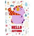 magical unicorn at winter scene merry christmas vector image