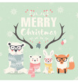 Merry Christmas card bears rabbit fox antlers vector image vector image