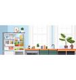 modern kitchen interior empty nobody apartment vector image vector image