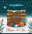 new year tree branches board and holiday gifts vector image