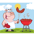 Pig chef cooking pork cartoon vector image vector image