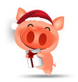 pig happy chinese new year 2019 cartoon isolated vector image vector image
